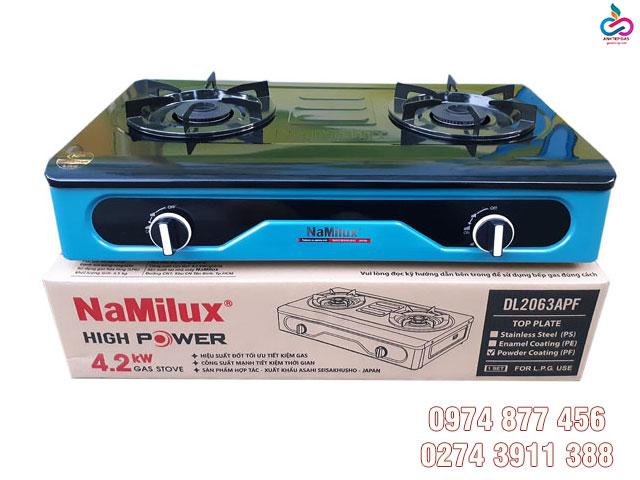 Bep gas doi Namilux DL2063APF mat bep trang men