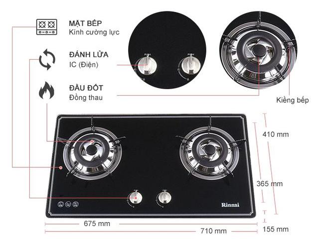Bếp gas âm Rinnai RVB-2BG(B)N giá rẻ