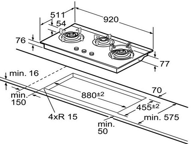 Kích thước của bếp gas âm thường gặp nhất